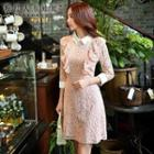 3/4-sleeve Ruffle Lace Dress