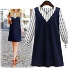 Set: Long-sleeve Blouse + Sleeveless A-line Dress