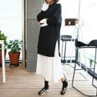 Color-block Ruffle-hem Pullover Dress