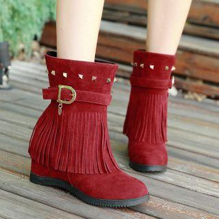 Buckled Fringed Short Boots