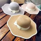 Contrast Trim Bow Accent Straw Hat