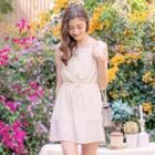 Sleeveless Panel Drawstring-waist Dress