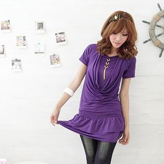 Inset Tee Drape Front Dress With Charm