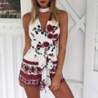 Sleeveless Cutout Printed Playsuit