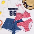 Set: Plaid Bikini + Crop Tank Top + Shorts
