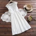 Sleeveless Dotted Chiffon A-line Dress