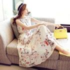 Sleeveless Chiffon Floral Midi Dress