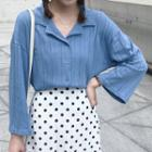 Bell-sleeve Collared Ribbed Top