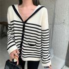 Sailor Collar Striped Cardigan Almond - One Size