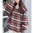 Balloon-sleeve Striped Knit Sweater