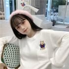 Bear Embroidered Knit Top White - One Size