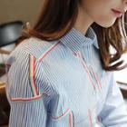 Pocket-front Pattern Stripe Shirt