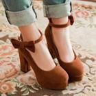 Bow Accent Ankle Strap High Heel Pumps