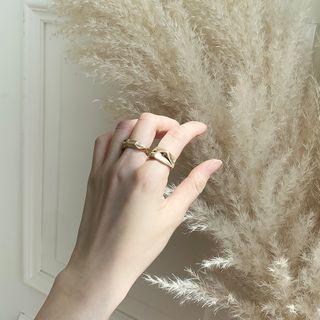 Irregular Band Ring Set (2 Pcs) Gold - One Size