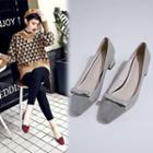 Bow Genuine Leather Pumps