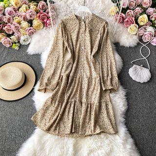 Collared Chiffon Floral Dress