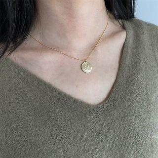 Copper Coin Pendant Necklace Gold - One Size