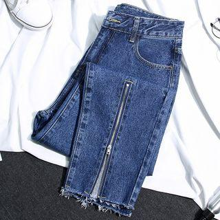 Zip Accent Washed Jeans