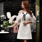 Off-shoulder Flower Applique Lace A-line Dress