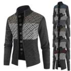 Stand-collar Color-block Print Cardigan