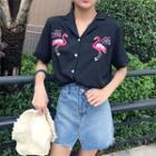 Flamingo Embroidered Short-sleeve Shirt