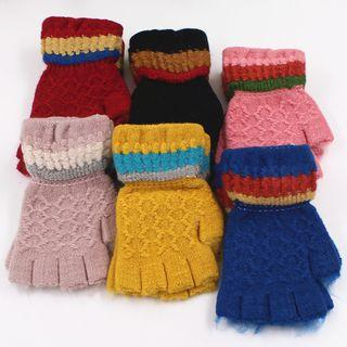 Ribbed Colour Block Fingerless Gloves