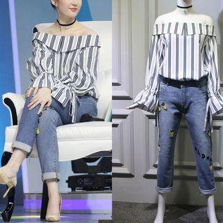 Off-shoulder Stripe Top/applique Jeans