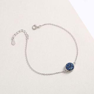 925 Sterling Silver Rhinestone Bracelet Bracelet - Rhinestone - Blue - One Size