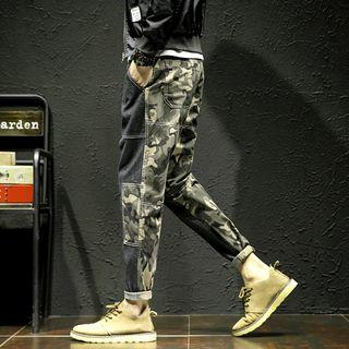Camouflage Panel Straight-fit Pants