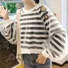 Sheer Panel Striped Sweatshirt