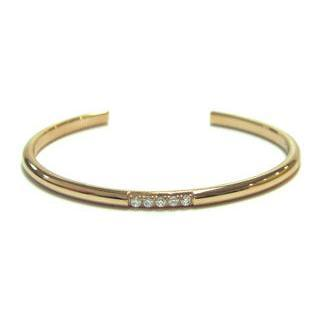 Ip Rose Gold Bangle With Crystals