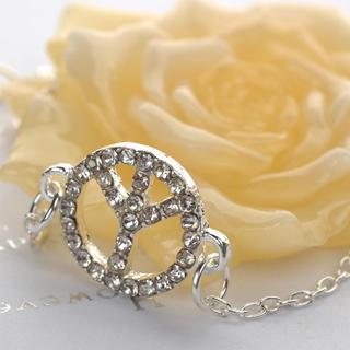 Diamond Peace Bracelet  Silver - One Size