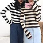 Striped Round-neck Slim-fit Knit Top