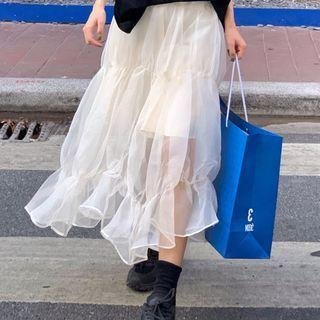 Shirred Midi A-line Skirt White - One Size