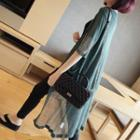 Pocketed Elbow-sleeve Long Cardigan