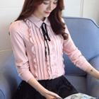 Long-sleeve Pintuck Chiffon Blouse