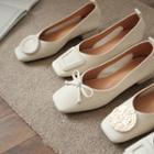 Square Toe Low Heel Flats