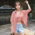 Set: Elbow-sleeve Gingham Shirt + Cropped Camisole Top