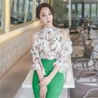 Cutaway-shoulder Floral Print Blouse