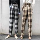 High-waist Plaid Pants