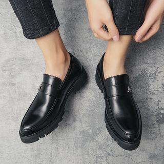 Bee Buckled Faux-leather Loafers