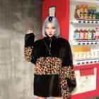 Leopard Print Panel Turtleneck Sweatshirt