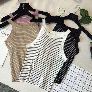 Striped Knit Halter Top