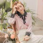 Lace Panel Tie-neck Blouse