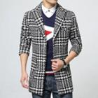 Houndstooth Plaid Woolen Coat