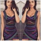 Patterned Sleeveless Bodycon Dress