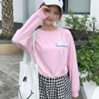 Lettering Drawstring Cropped Pullover