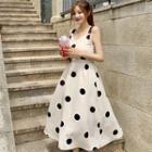 Dotted Print Sleeveless A-line Dress
