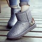 Glittering Platform Short Snow Boots