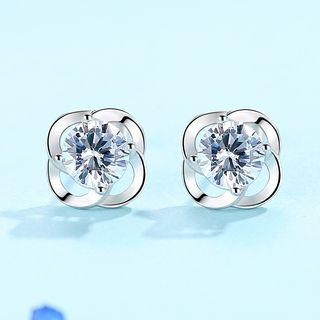 Cz Sterling Silver Clover Studs